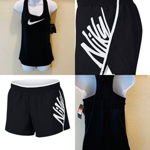 Nike Women's Black Tank and Shorts-Sz.L